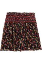 Anna Sui – Smocked Printed Silk Crepon Mini Skirt