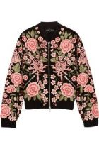 Needle & Threat – Embroidered Embellished Crepe Bomber Jacket